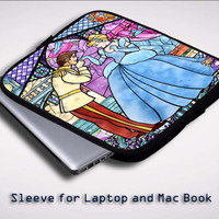 Disney Cinderella Stained Glass Z0723 Sleeve for Laptop, Macbook Pro, Macbook Air (Twin Sides)