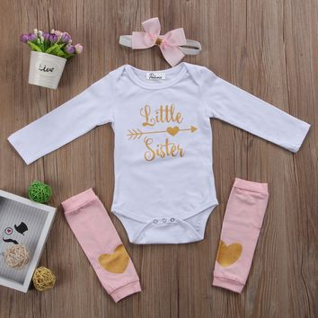 Cute Newborn Baby Girls Little Sister Onsie + Leg Warmers + Headband 3pc Outfit