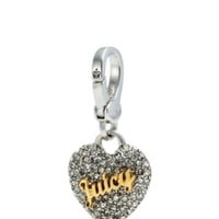 Juicy Couture Crystal Pave Heart Charm, Silvertone