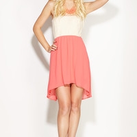 Sunset Paradise Coral Strapless High-Low Dress