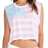 Faded American Flag Print Sleeveless Top