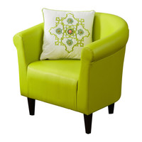 Yellow Green Faux Leather Contemporary Living Room Barrel Arm Chair