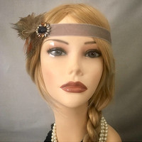 1920's style grey pewter art deco flapper gatsy headpiece headband headdress costume 20s inspired brown decorative vintage crystal  (711)