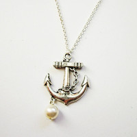 anchor dainty necklace - nautical jewelry / gift fo her under 20usd, Silver Anchor Necklace, anchor pendant, silver necklace anchor jewelery