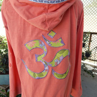 Coral OM Upcycled Hoodie Vintage Flower Trim OOAK Size M Patchwork  Hippie clothes, boho chic, zip up jacket festival Yoga