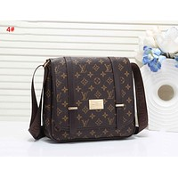 LV Louis Vuitton Fashion New Monogram Check Print Leather Shoulder Bag Women 4#