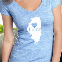 Illinois Home T-Shirt - V-Neck - State Pride - Home Tee - Clothing - Womens - Ladies