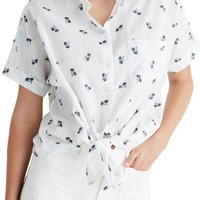 Madewell Palm Print Tie Front Shirt | Nordstrom