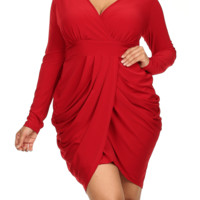Plus Size Long Sleeve V Neck Bubble Red Dress, Plus Size Clothing, Club Wear, Dresses, Tops, Sexy Trendy Plus Size Women Clothes
