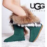 UGG Fashion Women Warm Tassel Wool Snow Boots Half Boots Shoes