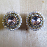 "0g - 3/4"" (6mm-19mm) / Rhinestone Pearl Wedding / Plugs Gauges Stretchers Earrings / Stretched Gauged Ears"