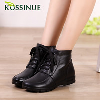 2015 genuine leather women winter boots warm cotton shoes casual ankle boots lace-up flat heel women snow boots shoes size 35-41
