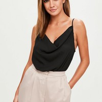 Missguided - Black Cowl Front Strappy Bodysuit
