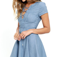 Always Wonder Blue Chambray Lace-Up Skater Dress