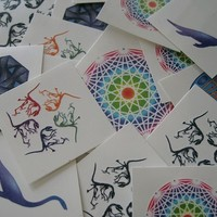 Geeky Mix of Temp Tattoos, Dino fossils, mystic rose, math and science temporary tattoos, perfect stocking stuffer