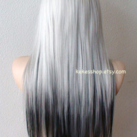 Ombre wig. Silver / Black Ombre wig. Long straight fashion hairstyle wig for daytime use or Cosplay.