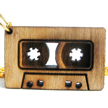 Cassette Necklace- Geekery Necklace- Gifts for Her - Gifts Under 20 - Cassette Jewelry - Nerdy Jewelry - Gold Necklace - Retro Necklace