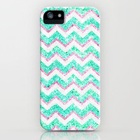 Chevron Pattern Girly Teal Pink Glitter iPhone Case by Girly Trend | Society6