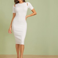 Cutout Detail Slim Solid Sweater Dress