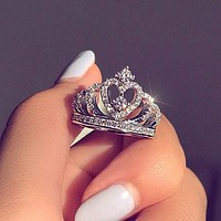 Popular In The World Women Simple Silvery Jewelry Diamond Crown Ring I