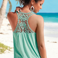 Hollow Out Lace Patchwork Back Camisole B005682