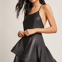 Faux Leather Tiered Cami Dress