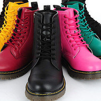 New Womens Girls Faux Leather Hi-Top Combat Boots Military Shoes UK 4 5 6 7 8