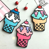 Personality 3D Ice Cream Mobile Phone Case For Iphone  5 5s SE 6 6s 6plus 6s plus + Nice gift box!