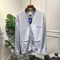 """""""Champion"""" Women Fashion Casual Solid Color Logo Long Sleeve Cardigan V-Neck Knitwear Sweater Coat"""