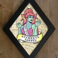 Miss Argentina from Beetlejuice Diamond framed print. Accidents Happen.