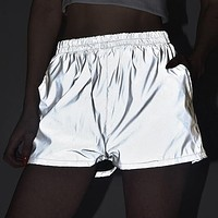 New fashion reflective sports leisure shorts women