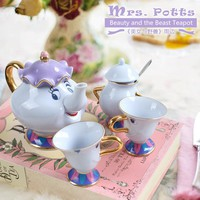Disney Beauty And The Beast Teapot Cup Set Mrs Potts Chip Tea Pot Cup Set Sugar Bowl Pot Gift 18K Gold-plated Painted Ceramic Fast Post