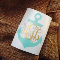 Anchor  Decal Anchor Initials Car Decal Monogram Decal Monogram Vinyl Vinyl Decal Monogram Gift Monogram sticker Car sticker Car Initials