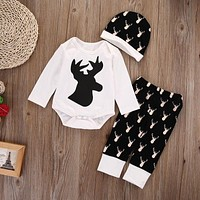 Newborn Baby Girls Boys Deer Tops Clothes Romper Pants Legging Hat Outfits XMAS Clothing Set 0-18M