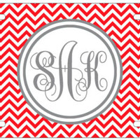 Personalized Monogrammed Chevron Red License Plate Custom Car Auto Tag L014