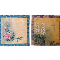 Antique hand painted woven Japanese rice paper flower paintings