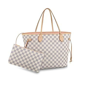 Women's Classic Canvas Neverfull Top-Handle Tote Bag Large Capacity Haute Couture Shoulder Bag