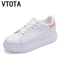 VTOTA Women Platform Shoes Lace-Up White Student Flat Shoes Vulcanized Shoes Spring Autumn Solid Sneakers Casual Shoes H165