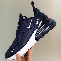 Nike Air Max 270 Popular Women Men New Style Air Cushion Sport Shoes Running Sneakers Blue I