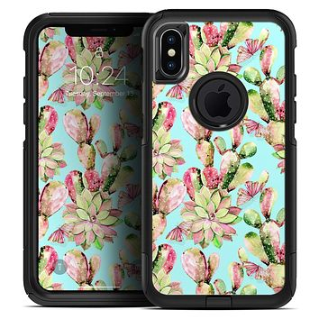 Watercolor Cactus Succulent Bloom V4 - Skin Kit for the iPhone OtterBox Cases