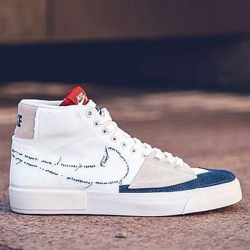 NIKE SB BLAZER MID Prm stitching high-top pioneer fashion casual sneakers shoes