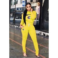 Champion Autumn Winter Fashion Women Casual Embroidery Long Sleeve Top Pants Set Two-Piece Sportswear Yellow