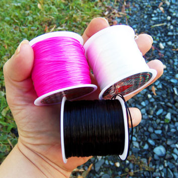 20 feet elastic stretching wire, stretch cord, stretchy string, bracelet cord, pink, black, white,  elastic fiber wire, crystal string .8mm
