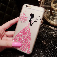 New ! Fancy Rhinestone  3D art luxury crystal hard back cover phone case for iPhone 6 4.7'' 5 5s