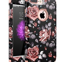 iPhone 7 Plus Case,XIQI Hybrid Heavy Duty Shockproof Impact Defender 3in1 Layer Full-Body Protective Case Cover for iPhone 7 Plus 5.5 inch Case (Black Roses)