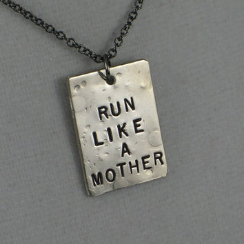 RUN LIKE a MOTHER Necklace  - Running Mom Necklace on 18 inch gunmetal chain - Running Mom Jewelry