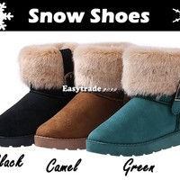 New Women Autumn Winter Snow Boots Ankle Boots Warm Faux Fur Shoes 3 Colors Hot