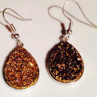 Stunning Sterling Silver Sparkling Gold Titanium Druzy Quartz Earrings for Pierced Ears with fishhooks (choose 1 of 2 shapes)