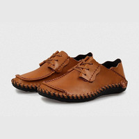 Center Tie Leather Moccasin
