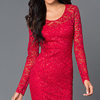 Short Open Back Long Sleeve Lace Dress 48048i by Jump